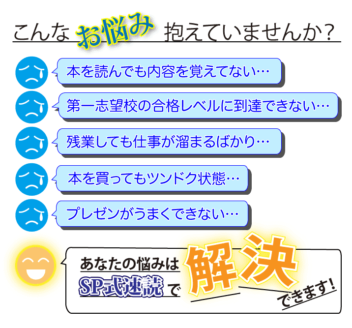 SP式速読で解決できます